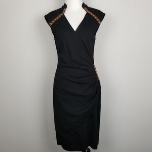 Cache | Black Faux Wrap Dress Leather